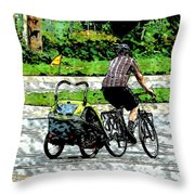 City Man On A Bike Throw Pillow