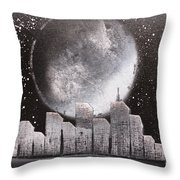City Night Scape Throw Pillow