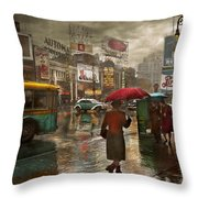 City - Ny - Times Square On A Rainy Day 1943 Throw Pillow