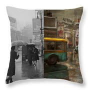City - Ny - Times Square On A Rainy Day 1943 Side By Side Throw Pillow