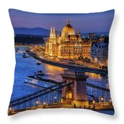 City Of Budapest At Twilight Throw Pillow
