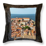 City Of Dubrovnik, The Pearl Of The Mediterranean Sea Throw Pillow
