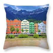 City Of Innsbruck Colorful Inn River Waterfront Panorama Throw Pillow