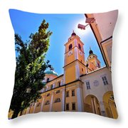 City Of Ljubljana Church And Square View Throw Pillow