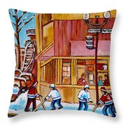 City Of Montreal St. Urbain And Mont Royal Beautys With Hockey Throw Pillow