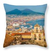 City Of Naples With Mt. Vesuvius Throw Pillow