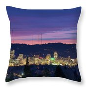 City Of Portland Oregon Skyline At Twilight Throw Pillow