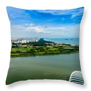 City Of Singapore And Blue Sky Throw Pillow