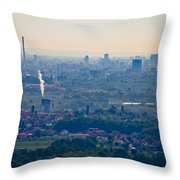 City Of Zagreb Panoramic Aerial View Throw Pillow