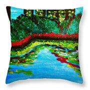 City Park At Night Throw Pillow