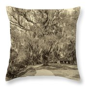 City Park New Orleans - Sepia Throw Pillow