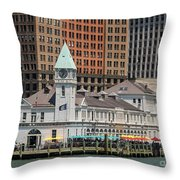 City Pier A And Pier A Harbor House In New York City Throw Pillow