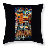City Pier - Palette Knife Oil Painting On Canvas By Leonid Afremov Throw Pillow