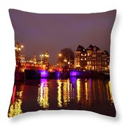 City Scenic From Amsterdam With The Blue Bridge In The Netherlands Throw Pillow