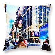 City Shopping Throw Pillow