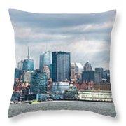 City - Skyline - Hoboken Nj - The Ever Changing Skyline Throw Pillow