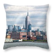City - Skyline - Hoboken Nj - The Ever Changing Skyline Throw Pillow