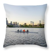 City Skyline - Philadelphia On The Schuylkill River Throw Pillow
