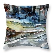 City Snow Melts Throw Pillow