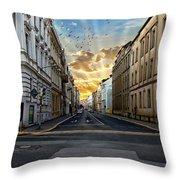 City Street View Throw Pillow