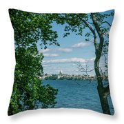 City Through The Trees Throw Pillow
