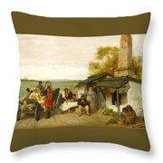 City Travellers Being Offered Fruit Throw Pillow