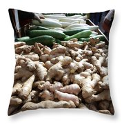 City Vegetable Stand Throw Pillow