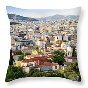 City View Of Old Buildings In Athens, Greece Throw Pillow