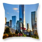 City Vs Nature Throw Pillow