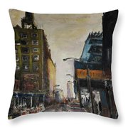City With Barrels Throw Pillow