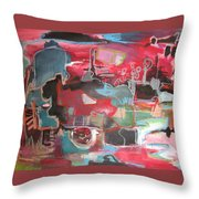 Citysacpe At Twilight  Original Abstract Colorful Landscape Painting For Sale Red Blue  Throw Pillow