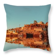 Cityscape For The Beautiful Nubian City Aswan In Egypt At The Golden Hour Of The Sunset Time. Throw Pillow
