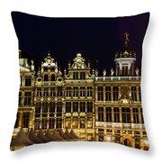 Cityscape In Brussels Europe - Landmark Of Brussels, Belgium Throw Pillow