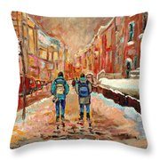 Cityscape In Winter Throw Pillow