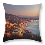 Cityscape Of Budapest, Hungary At Night And Day Throw Pillow