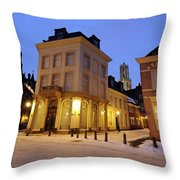 Cityscape Of Utrecht In The Evening At Pausdam 5 Throw Pillow