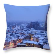 Cityscape Of Utrecht With The Dom Tower  In The Snow 13 Throw Pillow