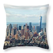 Cityscape View Of Manhattan, New York City. Throw Pillow