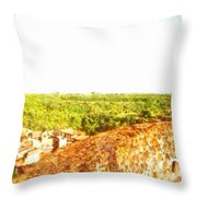 Cityscape With Wood Throw Pillow