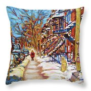 Cityscene In Winter Throw Pillow