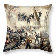 Civil War Naval Battle Throw Pillow