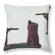 Civil War Soldier & Tree Trunk Bank Throw Pillow