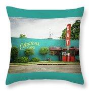 Clanton's Cafe Throw Pillow