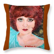 Clara On Black And Gold Throw Pillow