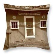 Clara's Sandwich Shop Throw Pillow