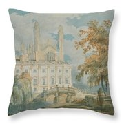 Clare Hall And Kings College Chapel, Cambridge  Throw Pillow