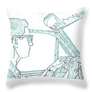 Clarence Driving Blue Throw Pillow