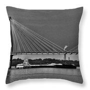 Clark Bridge And Barges In Black And White  Throw Pillow