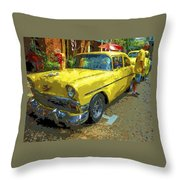 Classic 56 Chevy Car Yellow  Throw Pillow