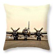 Classic B-29 Bomber Aircraft Throw Pillow